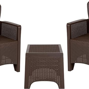 Chocolate Faux Rattan Plastic Chair Set with Matching Side Table [DAD-SF3-2P-SET-CHOC-GG]
