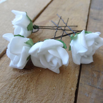 White Rose Wedding Hair Pins, Ivory Bridal Hair Pins, Hair Accessories,  Bridesmaid Hair, Woodland - Set of 4