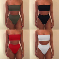 Fashion Strapless High Waist Solid Color Bikini Set Swimsuit Swimwear