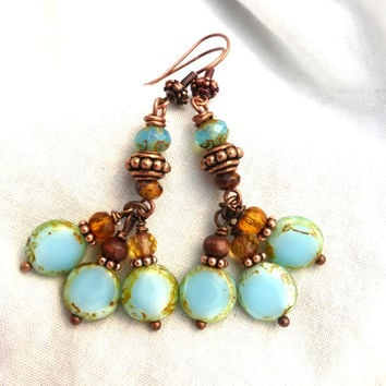 Light blue and brown mixed Czech Picasso glass and copper earrings.