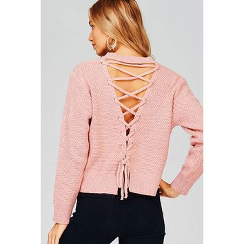 Knit Sweater with Lace Up Back (Dusty Pink)