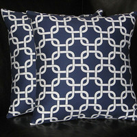 """Navy Blue EURO Sham 26"""" Pillow Covers 26 inch Chain Link Slipcovers dark blue, white set of TWO accent pillows"""