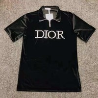 """""""Dior"""" Woman's Leisure Fashion Embroidery Letter Printing Silks and Satins Lapel Short"""