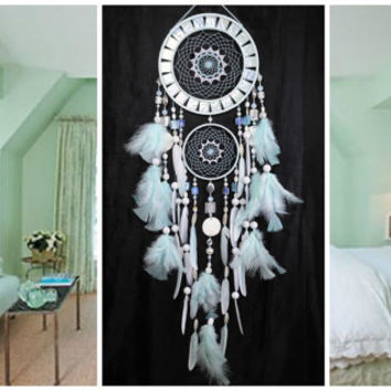 NOW Dreamcatcher Mint mosaic Dream Catcher Large Dreamcatcher New Dream сatcher gift idea pearlescent dreamcatcher boho dreamcatcher wall