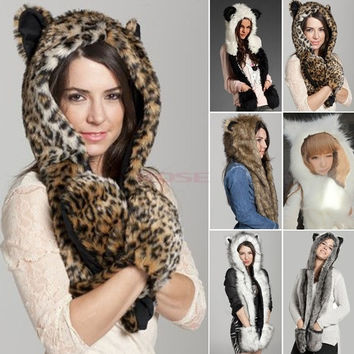 2014 Animal Winter Warm Faux Fur Hat Fluffy Plush Cap Hood Scarf Shawl Glove SV006038 Apparel & Accessories = 1932425028