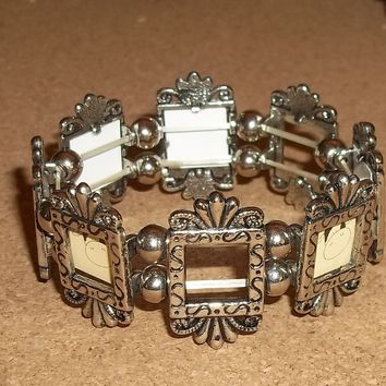Vintage Photo Frame Mother's / Grandmother's Tibetan Silver Stretch Bracelet