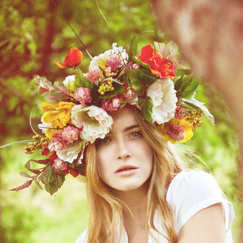 Floral-Crown-Bridal-Flower-Hair-Piece-Headpiece-Wreath-Fascinator-Wedding-Whimsical-Spring-Garden