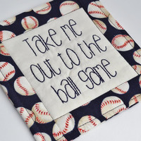 Take Me Out to the Ball Game Coaster - Mug Rug - Baseball Fan - Fathers Day Dad Gift - Man Cave - Beer Mat - Hand Stitched - Red White Blue