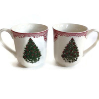 Vintage Christmas Mugs, Johnson Bros, Coffee Cups, Christmas Tree, Burgundy Trim, Made in England, Set of Two, Holiday Kitchen