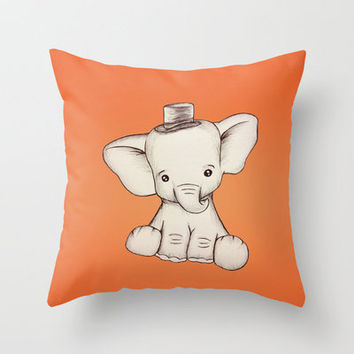Peewee Elephant Throw Pillow by Kathy Lyon