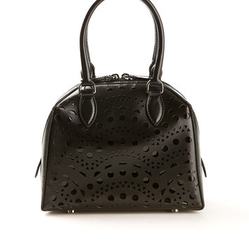 AZZEDINE ALAÏA VIENNE BLACK LASER CUT LEATHER AND VARNISHED LEATHER BAG