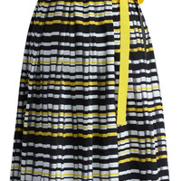 Tie with Stripes Pleated Skirt Multi