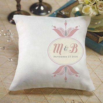 """Notable"" Personalized Ring Pillow with Double Floral Monogram Vintage Pink (Pack of 1)"