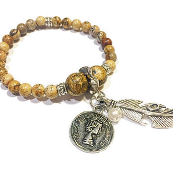 DETOX Natural Jasper charm bracelet / Health and Happiness / Energy Bead Bracelet / Mala / Gift Womens Stretch Stackable Beads Feather