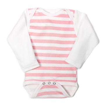 UnderBib Long Sleeve Pink Stripe Bodysuit