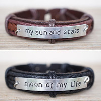 Moon of my life - my sun and stars bracelet, Game of Thrones, Best Friend Bracelet, genuine leather matching bracelet, his and her bracelet