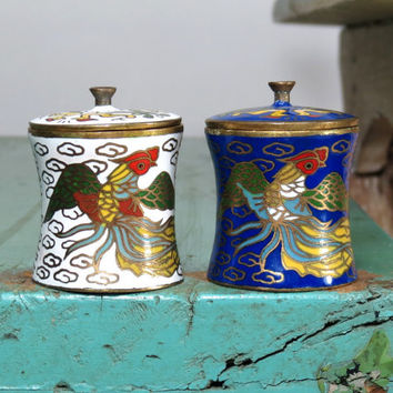 """Cloisonné Brass Lidded Trinket Boxes . Asian Enameled Brass . Colorful Dragons Blue and White . 2 Small Vintage Containers 1-3/4"""" Tall"""