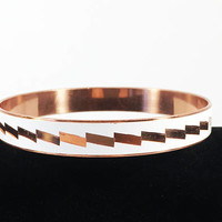 Vintage 1970s 1980s White Enamel Copper Bangle Bracelet