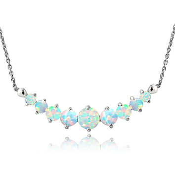 Sterling Silver Created Opal & Diamond Accent Frontal Journey Necklace