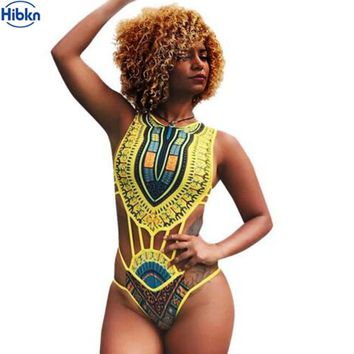 HIBKN south African swimsuit vintage print monokini swimwear large sizes bathers trikini swimming suit for women swimwear