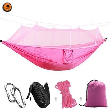 Ultralight Outdoor Double Hammock Nylon and Mosquito Net Exit Jungle Camping Tent Hanging Bed 12 Colors 260 * 140 CM
