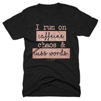 Caffeine Chaos Cuss Words Graphic Tee - Black/Pink
