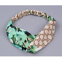 GUCCI Popular Women Sport Letter Flower Print Headband Hair Band Accessories Green I12165-1