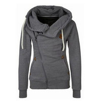 women's sports personality side zipper hooded cardigan sweater jacket