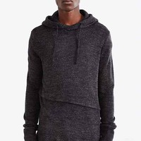 The Narrows Asymmetrical Hooded Sweater- Dark Grey