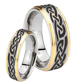 His Hers Celtic Knot Infinity Love Step Edges Gold 2 Tone Tungsten Engraving Ring Set