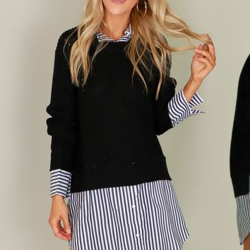 Layered Tunic Sweater Black