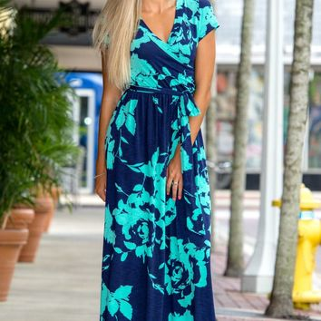 Simply Perfect Mint Navy Wrap Maxi Dress Floral Shop Simply Me Boutique – Simply Me Boutique