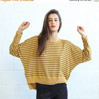 Stripes kimono cut sweater,woman's sweater- Mustard.