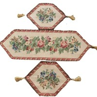 Tache 3 Piece Floral Festive Red Yuletide Table Runner Set (DB3098TR-B-3PCST)