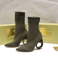 Burberry trendy high heel middle tube single boots-2