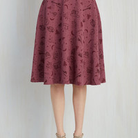 Rustic Long A-line Bugle Joy Skirt in Kitschy Camper