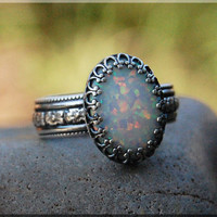 Opal Ring, Crown Bezel Set Fire Opal Ring, Sterling Silver gemstone Ring, Opal Cocktail Ring, Thick Flower Band Ring, Fire Opal Oval Ring