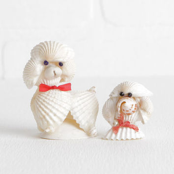 Vintage Seashell Poodle Figurines, Small Pair of Kitsch Poodle Sculpture Statues