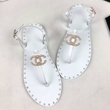 CHANEL Women Fashion Pearl Sandals Flats Shoes