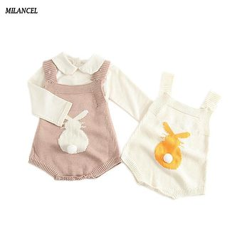 MILANCEL 2017 Spring Baby Rabbit Rompers Infant Sweet Knitted Overalls Bunny Baby Jumpsuit Toddler Baby Girls Boys Clothing