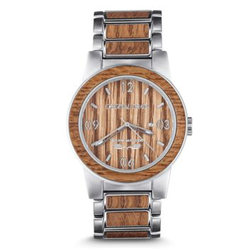 The Brewmaster by Original Grain | Brushed Silver Stainless Steel Band | Barrel Line | 2 Sizes