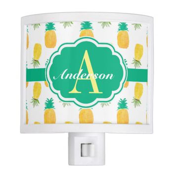 Tropical Pineapple Patterned Monogrammed Night Light