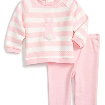Infant Girl's Little Me 'Bunny' Quilted Raglan Sweatshirt, Leggings & Headband
