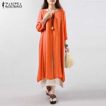 ZANZEA Women Dress 2017 Autumn Vintage Cotton Linen Dress Casual Loose Long Dresses Plus Size Vestidos Plus Size S-5XL