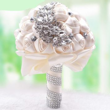 Fabric Rose Crystal Rhinestone Luxury Bridal Brooch Bouquet Wedding Flower Bridesmaid Hand Flower