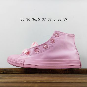 Kuyou Fa19630 Converse All Star Silk Shoelaces Pink High Top Canvas Shoes