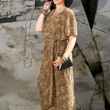 Vintage Silk Leopard Maxi Wrap Dress