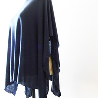 Navy Blue Caftan style Poncho/ Nursing Poncho/ Nursing Shawl/ Breastfeeding cover/ Summer Caftan/ Summer Shawl/ Summer Poncho