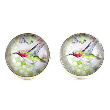 Ruby Throated Hummingbird Stud Earrings Silver Tone EL28 Green Bird Wildlife Art Posts Fashion Jewelry