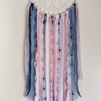 Large dreamcatcher White, Pink and Blue with vintage lace